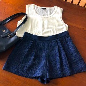 Rebecca Taylor Navy Silk Shorts
